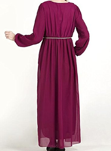 Coolred-femmes Étirent La Taille Musulmane Abaya Longue Robe Ras Du Cou Manches Violet