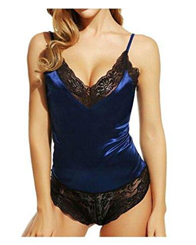lingerie sexy raso pigiama sexy Servizio vestitino in in Hangang di con da donna Pigiama pizzo Blue Lingerie gWqpwT6