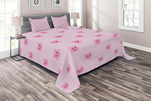 Lunarable Pig Coverlet Set Queen Size, Pig Avatar Kid-Friendly Clip Art Style Funny Icon Illustration Design Print, 3 Piece Decorative Quilted Bedspread Set with 2 Pillow Shams, Baby Pink Pale Pink for $<!--$79.95-->