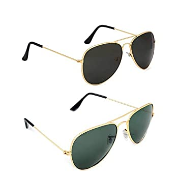 Dervin Aviator Men's and Women's Sunglasses Combo (Black, Green) – Pack of 2