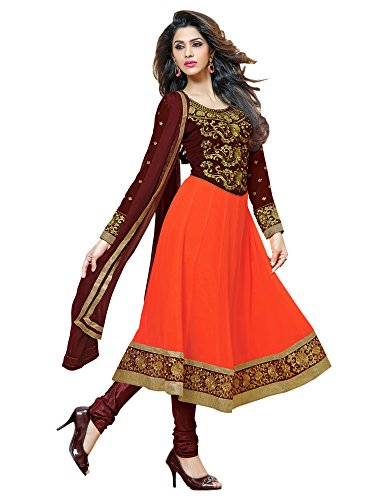 Sourbh Women's Orange Faux Georgette Embroidered Semi-Stitched Partywear Dress Material
