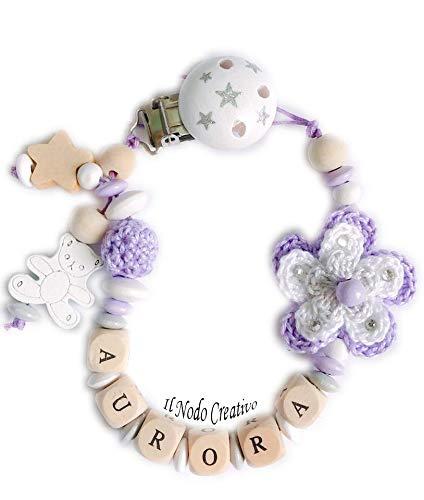 ilnodocreativo ciuccio mam Catenella portaciuccio con nome porta ciuccio elegante battesimo nascita con stella porta ciuccio viola lilla bianco catena succhietto con fiore