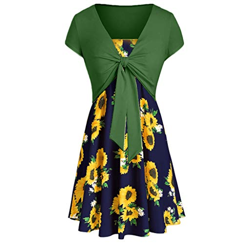 Dresses for Women Casual Summer Sleeveless Sunflower Print Strap Cami Mini Sun Dress with Short Sleeve Bow Crop Tops