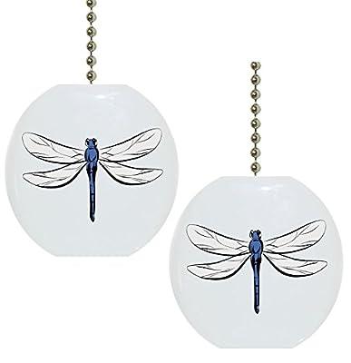 Set of 2 Dragonfly Solid CERAMIC Fan Pulls