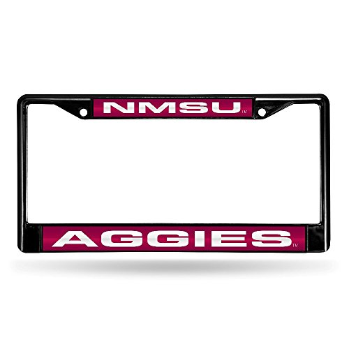 NCAA New Mexico State Aggies Laser Cut Inlaid Standard Chrome License Plate Frame, Black
