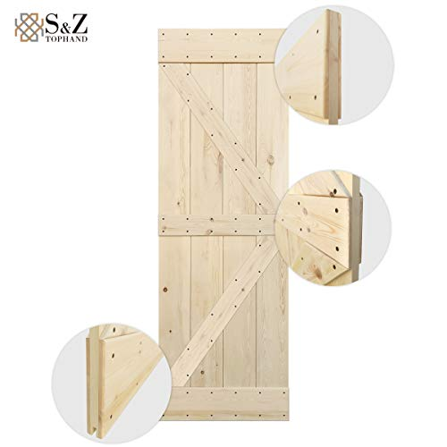 (S&Z TOPHAND 28 in. x 84 in. Unfinished British Brace Knotty Pine Barn Door/American Traditional Country Style/Sliding Door/Double Surfaces/A Simple Assembly is Required. (28, Unfinished))