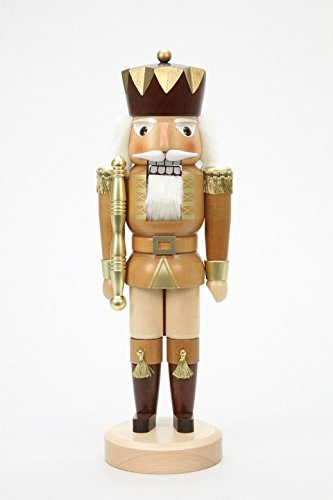 German Christmas Nutcracker King natural colors/gold - 38 cm / 15 inches - Christian Ulbricht by Ulbricht