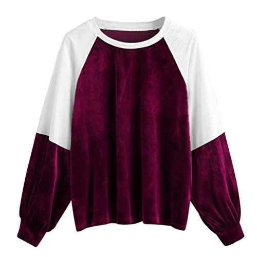 BEAUTYVAN Purple Blouse Beautiful Design Womens Casual Patchwork Velvet Long Sleeve Pullover Tops Blouse (L, Purple)