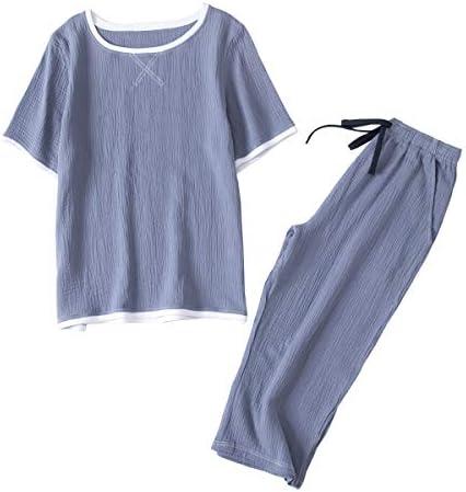 パジャマ メンズ 綿 Tシャツ 二重 ガーゼ 上下 セット 部屋着 半袖 七分丈パンツ 上下セット ポケット付き
