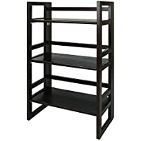 3-Tier Folding Student Bookcase in Espresso Finish