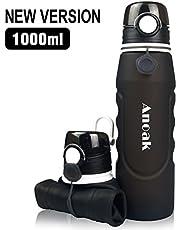 Faltbare Trinkflasche 100% BPA-frei Wasserflasche mit Leck Sicherheitsventil für Camping, Sport, Outdoor und Reisen,Sportflasche,1000ML,schwarz[Neues Upgrade]