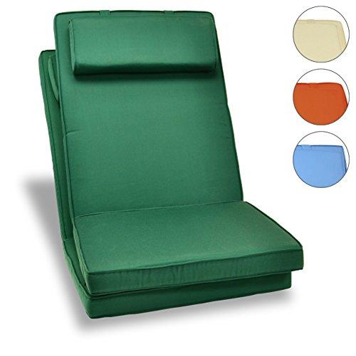 Sitz-Auflage 2er Set Polster Hochlehner Gartenstuhl Campingstuhl Klappstuhl hochwertig grün