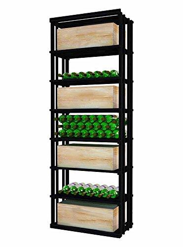 Designer Rectangular Bin - Wine Cellar Innovations DPI-MB-RECT-A3 Designer Series Rectangular Bin and Case Storage Wine Rack, Rustic Pine, Without Lacquer Finish, Midnight Black Stain