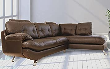 sandy corner sofa faux leather right hand side brown amazon rh amazon co uk Leather Corner Sofas Us Leather Sectional Sofa