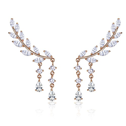 EVER SHINE Sweep Up Ear Cuffs Climbers Stud Set Drop Dangle Pierced Earrings Leaf Leaves (Rose Gold Tone)