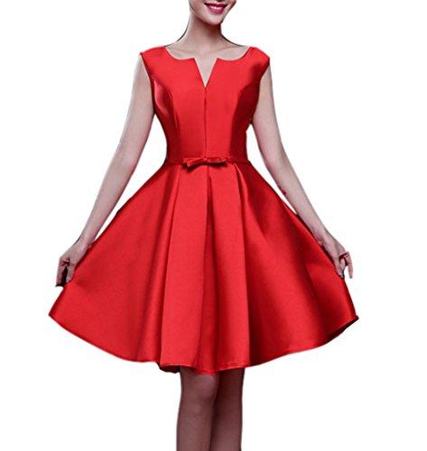 Satin Line A Knie Damen Brautjungfer Abschlussball das Kleider emmani und Tuch Rot 5FYxw