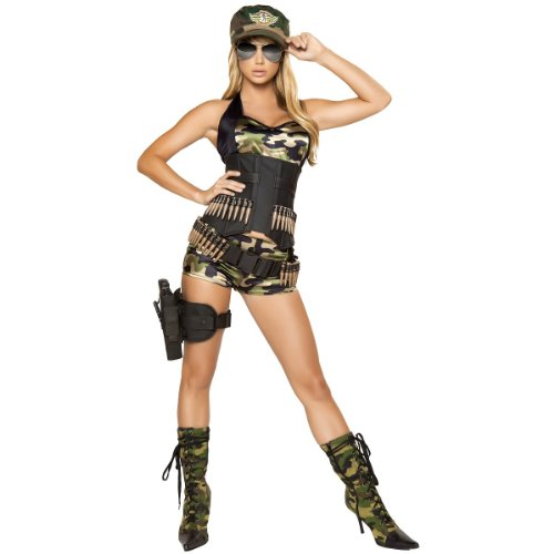 Army Babe Halloween Costume (Roma Costume 5 Piece Army Babe Costume, Camouflage, Small)