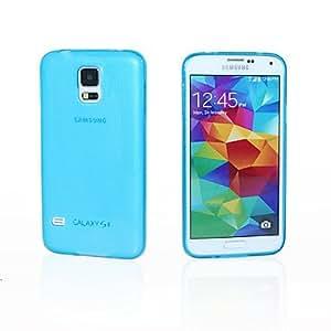 SHOUJIKE Special Design Solid Color Transparent TPU for Samsung S5 I9600(Assorted Colors) , Blue
