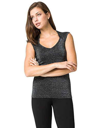 Metallic Knit Top,L,Black/Silver (Metallic Knit Top)