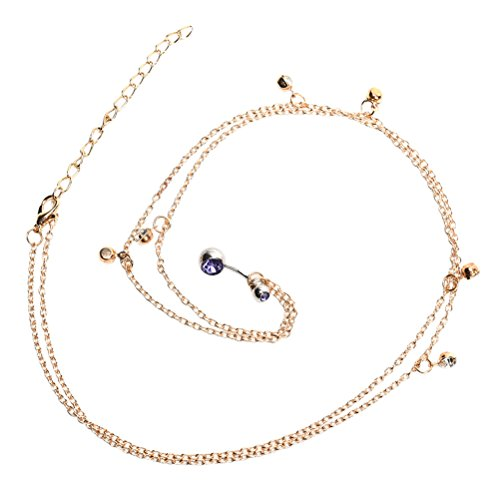 SNNplapla 14G Gold Crystal Navel Belly Button Ring With Waist Chain Body Piercing Jewelry