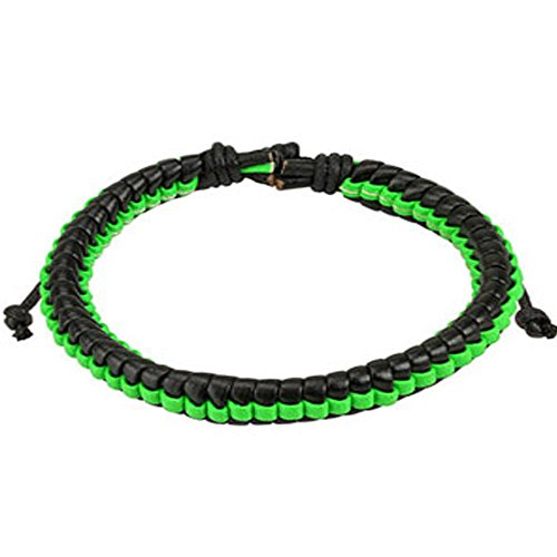 Black Leather Bracelet with Green Weaved Center Strip, Adjustable Size by Sliding Tie-Knot Closure and One Size Fits Most (Extends upto 10