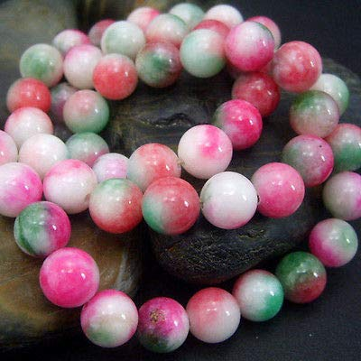 FidgetFidget 8mm Beautiful Multi-Color Jade Gemstone Round Beads Strand 15