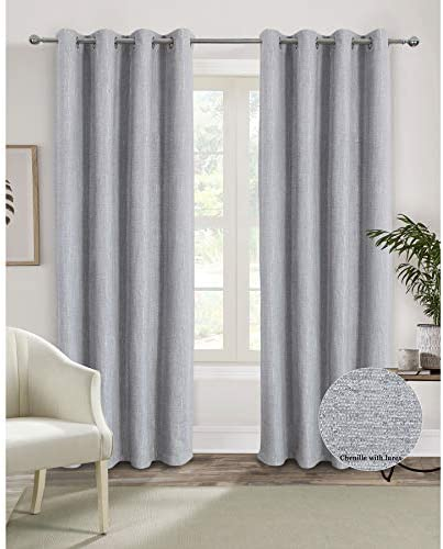 Silver Privacy Room Darkening Light Blocking Curtains 95 Inches Length Grommet Room Darkening Chenille Curtain