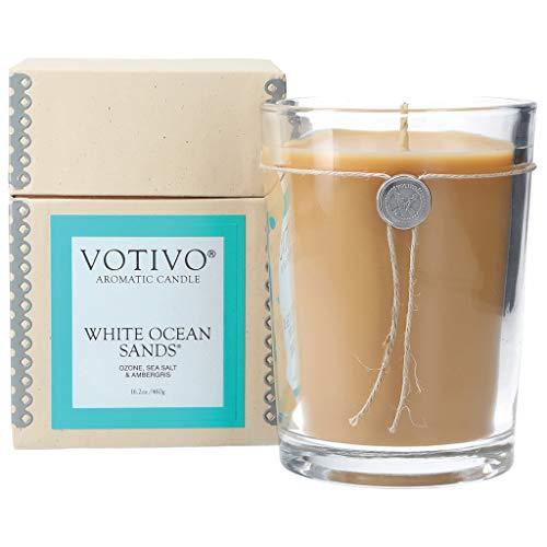 Votivo White Ocean Sands 16.2 oz Large Candle - 110 Hour Lifetime Burn Time ()