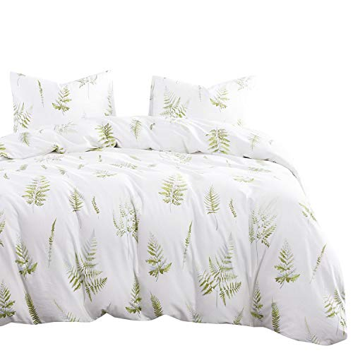 Wake In Cloud - Leaves Duvet Cover Set, 100% Cotton Bedding, Green Plant Tree Leaf Pattern Printed on White, Zipper Closure (3pcs, King Size) (Duvet Green Cover White And)
