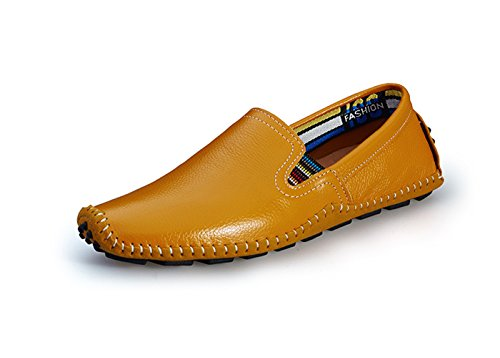 1 Leather Noblespirit Fashion Casual Shoes Summer Slipper in Loafers Driving on Yellow Men's Slip Shoes fAZB6A