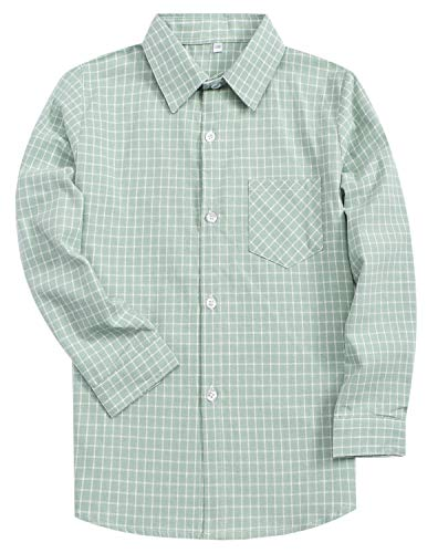 Kids Boys Long Sleeves Button Down Plaid Flannel Shirt Green, Tag 120 = 4T -5T for 4-5 Years
