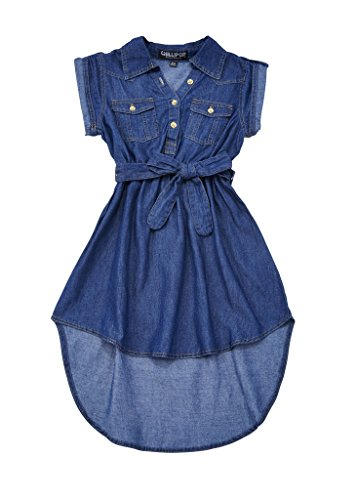 Chilipop-Dark-Denim-Dress-for-Girls-Front-Pockets-Self-Tie-Sash-Flared-Skirt