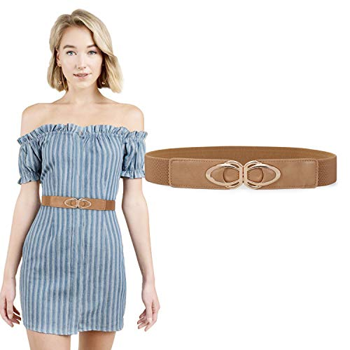 JASGOOD Halloween Belt-Retro Elastic Belts Ladies Stretch 1.5Inch WideCute Belts Dress With Gold Buckle