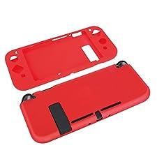 TNP Nintendo Switch Joy-Con Grip Gel Guards - Protective Anti-Slip Ergonomic Comfort Controller Grip Case Cover Skin Silicon for Console Joy Con Left & Right Accessories (Neon Red)