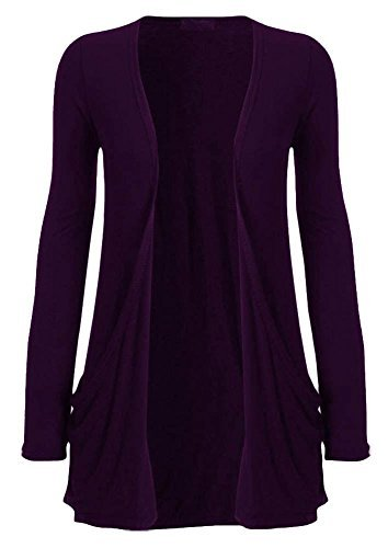 8 manches ouvert Dames poches 26 cardigan NEUF bout for longues haute UK Pourpre DIVA Uni 7Y00fw