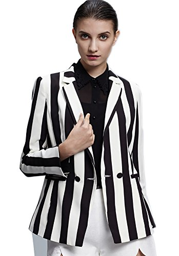Beetlejuice Costume Black and White Striped Leisure Blazers Jacket Suit(Large)