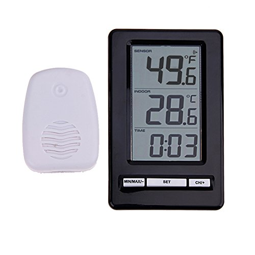 Vanpower Wireless Digital Indoor Outdoor Thermometer with Desktop Clock by vanpower