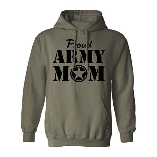 Proud Army Mom Hooded Sweatshirt in Military Green - XXX-Large