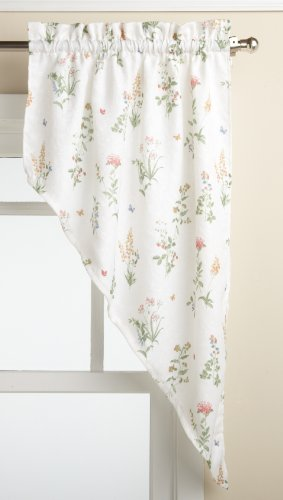 Lorraine Home Fashions English Garden 55-inch x 38-inch Swag Pair, (Garden Kitchen Curtain)
