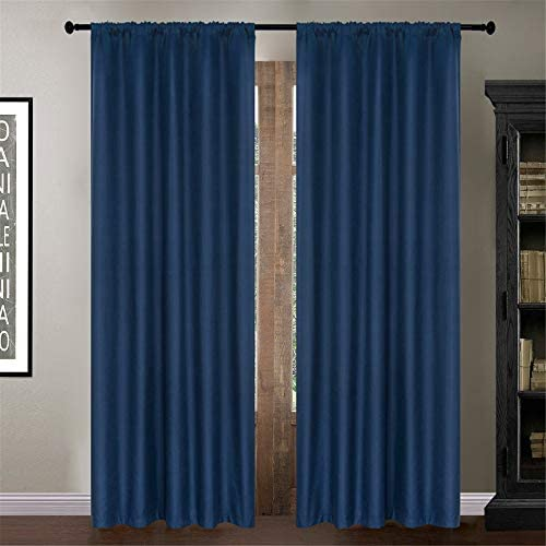 Dreaming Casa Navy Blue Thermal Insulated 100 Blackout Curtains Bedroom
