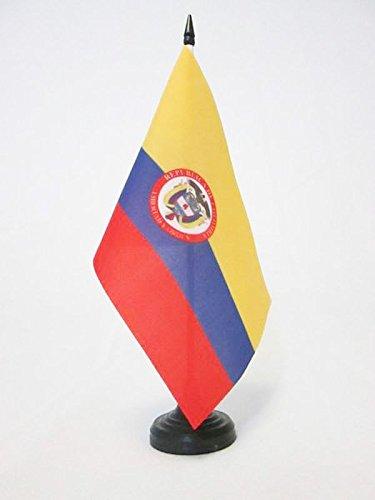 BANDIERA DA TAVOLO COLOMBIA CON STEMMA 21x14cm - PICCOLA BANDIERINA COLOMBIANA CON BLASONE 14 x 21 cm - AZ FLAG