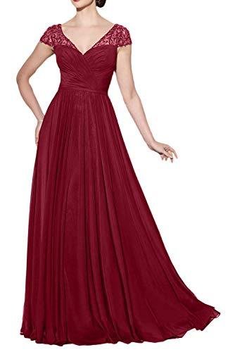 A Elegant Abendkleider Braut Neu Brautmutterkleider Weinrot Ballkleider Linie 2018 La Chiffon Rock Lang mia Partykleider Kurzarm IxYAA7