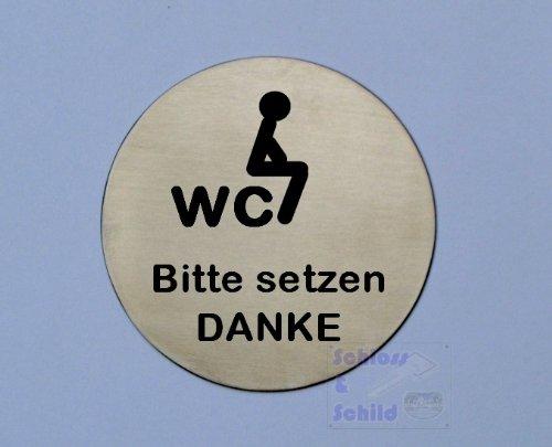 Piktogramm Toilette WC Schild, ' Im sitzen pinkeln' Edelstahl Tü rschild, Durchmesser 75mm, selbstklebend  Im sitzen pinkeln Edelstahl Tü rschild Edelstahl Symbol-Schilder