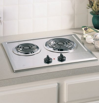 Ge JP201CBSS  Built-In Electric Cooktop, 2-Burner, Stainless Steel, 21.25 X 16.62 X 3