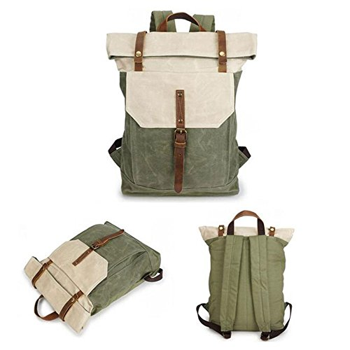 Yxlong Coralbluewithbeige Horse Backpack Canvas Bag Leather Retro Men's Student Waterproof Travel Crazy qrTxpqAwF