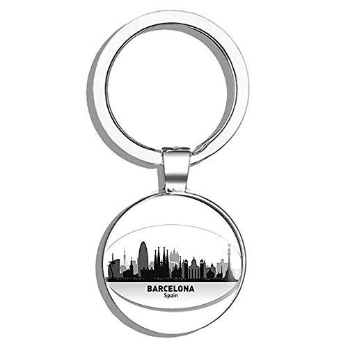 HJ Media Oval Barcelona Skyline (Spain City) Metal Round Metal Key Chain Keychain Ring (Barcelona Handbag)