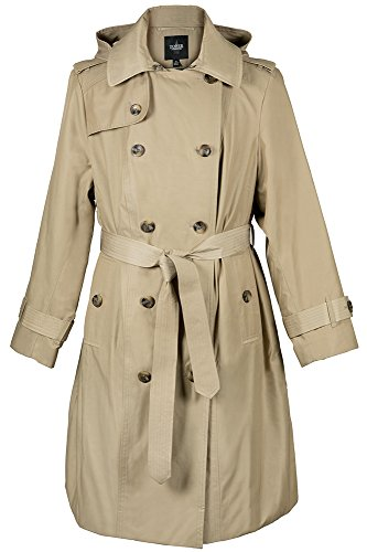Breasted Coat London Fog Double (London Fog Ladies Double-Breasted Raincoat, Khaki, 2XL)