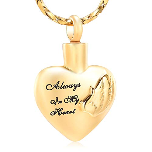 Imrsanl Cremation Jewelry for Ashes Pendant Wings Heart Urn Necklace for Women/Men Stainless Steel Memorial Urn Locket Keepsake Ashes Jewelry (Gold-2)