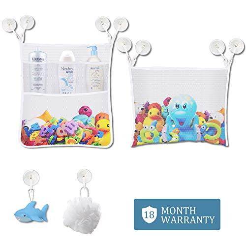 (Bath Toy Organizer - Baby Kids Bathtub Net Storage - Multi-Use Organizer Bags Make Bath Toy Storage Easy - Kids Bath Toy Holder - 2 Large Toy Organizer and 10 Ultra Strong Suction Cups with Key Lock)