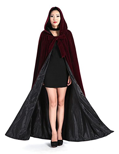 Newdeve Medieval Velvet Cloak Full Length with Hood Cosplay Costume Cape for Adults Maroon
